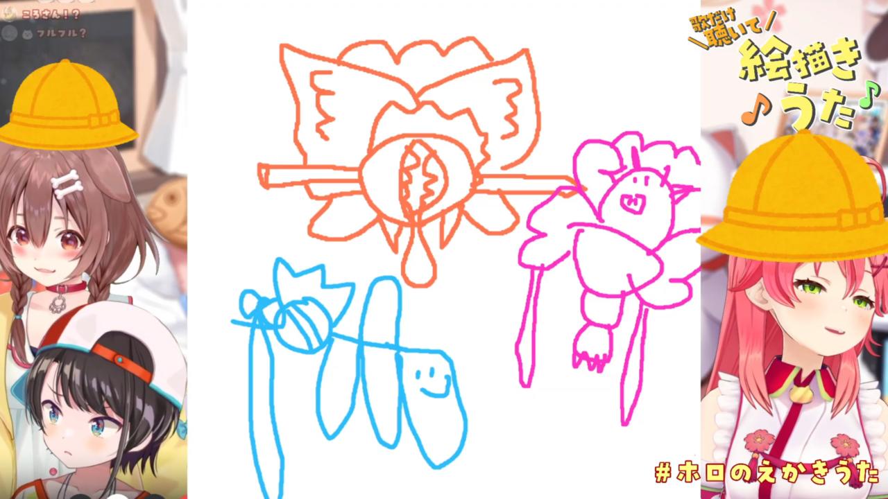 2df8ca0f2d67d78ef1f77b041ff5c8b4 【 #ホロのえかきうた 】ホロメンの作った絵描き歌を歌だけ聴いて描く選手権!🎨🎏【ホロライブ/さくらみこ/大空スバル/戌神ころね】