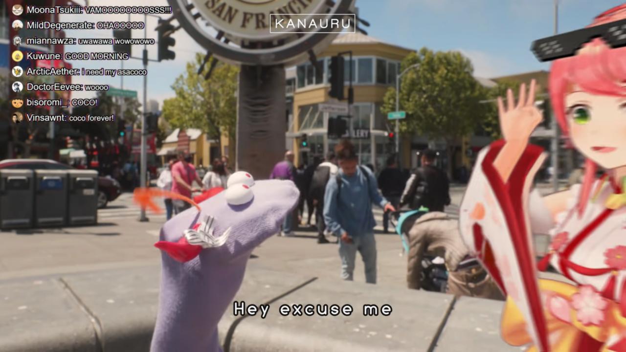 39367221ad104e85c26dae4ca38736fe Muppet Coco Helps Tourist Miko Find Statue of Liberty in San Francisco「 Sakura Miko 」 実写版ココ会長とエリートみこちの英会話!!