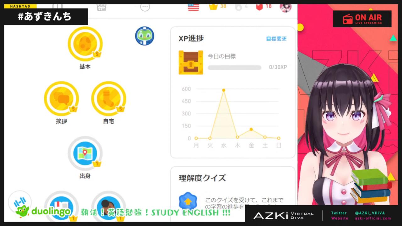 b2613bc0cca1714ef9ba8ad267583dd1 【Duolingo】朝活 STUDY ENGLISH !!! 英語のお勉強する【#あずきんち】