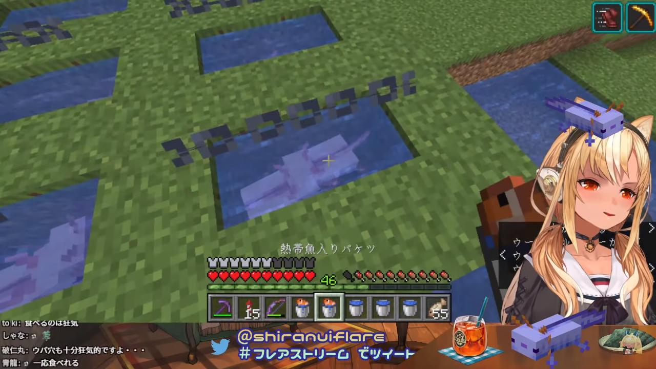 be379a9301be9137181108c9ea46af98 【マインクラフト/Minecraft】しら建にも幸運の青ウパを!【不知火フレア/ホロライブ】