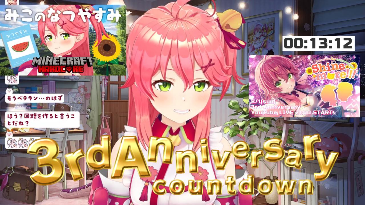 9908c43d17c58e33faa719490b0d1fad 【 カウントダウン 】ついに3周年!3rd Anniversary Countdown【ホロライブ/さくらみこ】
